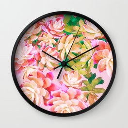 Cactus Fall - Pink and Green Wall Clock