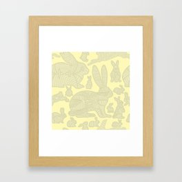 bunnies in lines Framed Art Print