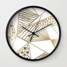 Elegant faux gold geometric stripes polka dots pattern Wall Clock