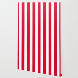 Medium candy apple red - solid color - white vertical lines pattern Wallpaper