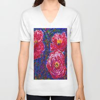 peony V-neck T-shirts featuring Peony by NicholasVitale