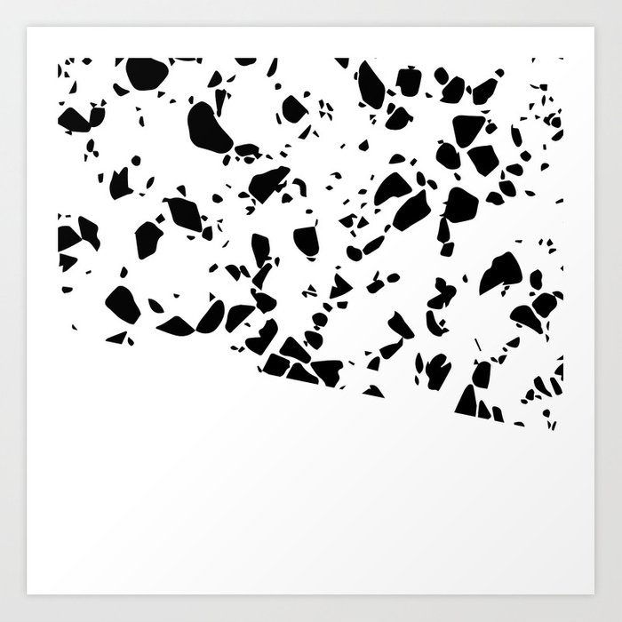 Terrazzo Texture Black And White 8 Art Print