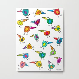 A Flock of Colourful Birds Metal Print