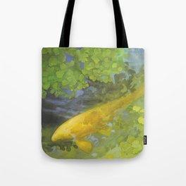 Yellow Carp in Green_painting Tote Bag