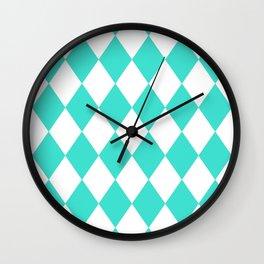Diamonds (Turquoise/White) Wall Clock