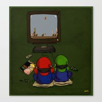 mario bros Canvas Prints featuring mario bros by berkozturk