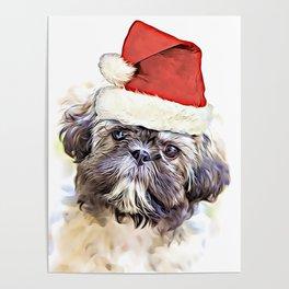 Christmas Shih Tzu puppy Poster