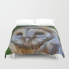 Tawny Owl In The Style of Camille Duvet Cover