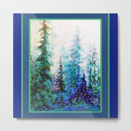 Blue Mountain Landscape Pines In Blue-Greens Metal Print