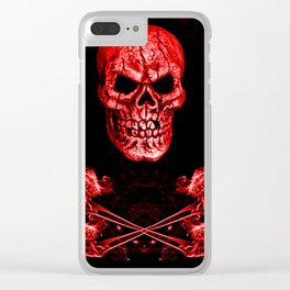Skull And Crossbones Red Clear iPhone Case
