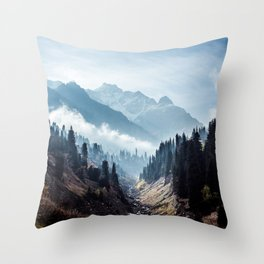 VALLEY - MOUNTAINS - TREES - RIVER - PHOTOGRAPHY - LANDSCAPE Throw Pillow