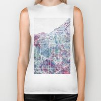 cleveland Biker Tanks featuring Cleveland map by MapMapMaps.Watercolors