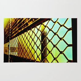 Abstract Cross Processed Sea Foam Green Metal Gate Store Shutter Rug