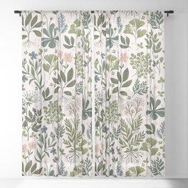 Herbarium ~ vintage inspired botanical art print ~ white Sheer Curtain