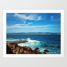 wavy blue sea Art Print