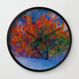 Abstract Autumn Tree Artistic Painting Wall Clock