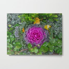 Kale with Autumn Leaves Metal Print