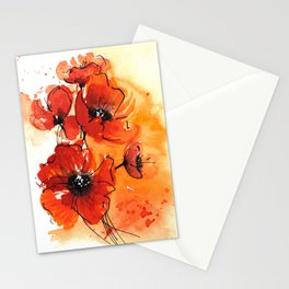 Red Poppy Flowers Watercolor Painting Stationery Cards