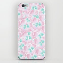 Blush pink turquoise white hand drawn watercolor flowers iPhone Skin