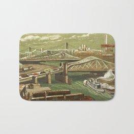 African American Masterpiece 'Harlem River Bridges' by Elizabeth Olds Bath Mat