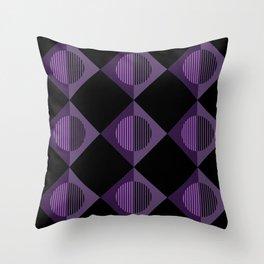 Purple Aubergine Geometric Moons & Triangles - Horizons Series Throw Pillow