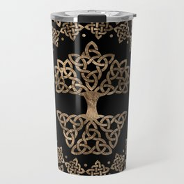 Triquetra - Tree of life -Yggdrasil Gold on Black Travel Mug