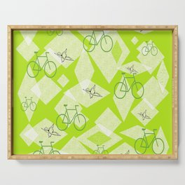 Bicycles and Butterflies Green Serving Tray