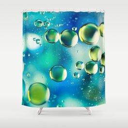 Macro Water Droplets  Aquamarine Soft Green Citron Lemon Yellow and Blue jewel tones Shower Curtain