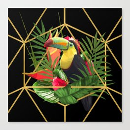 Bold Golden Geometric Tropical Bouquet With Toucan Canvas Print