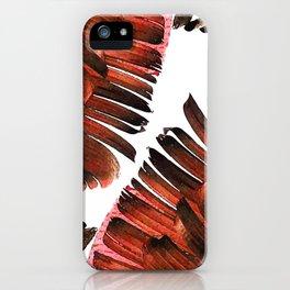 Banana Leaf - Tropical Leaf Print - Botanical Art - Modern Abstract - Brown, Copper, Red iPhone Case