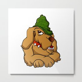 detective dog cartoon Metal Print