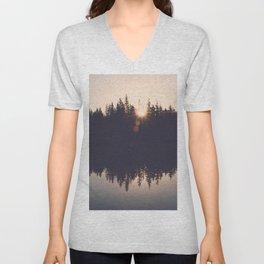 Wooded Lake Reflection  - Nature Photography Unisex V-Neck