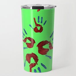 Red palm with blue fingers on neon green Travel Mug