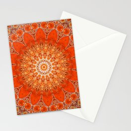 Detailed Orange Boho Mandala Stationery Cards