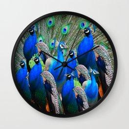 FLOCK OF BLUE PEACOCKS Wall Clock