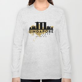 SINGAPORE SILHOUETTE SKYLINE MAP ART Long Sleeve T-shirt