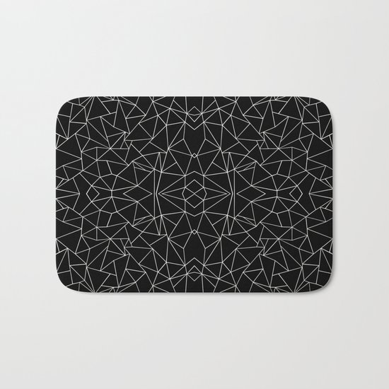 Abstract Collide Outline White on Black Bath Mat