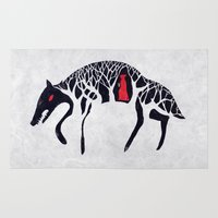 red hood Area & Throw Rugs featuring L'il Red Riding Hood by Becca Thorne