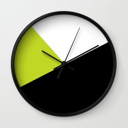 Trichromatic Black White Lime Color Block Wall Clock