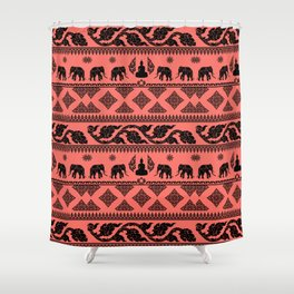 ethnic pattern on living coral background Shower Curtain