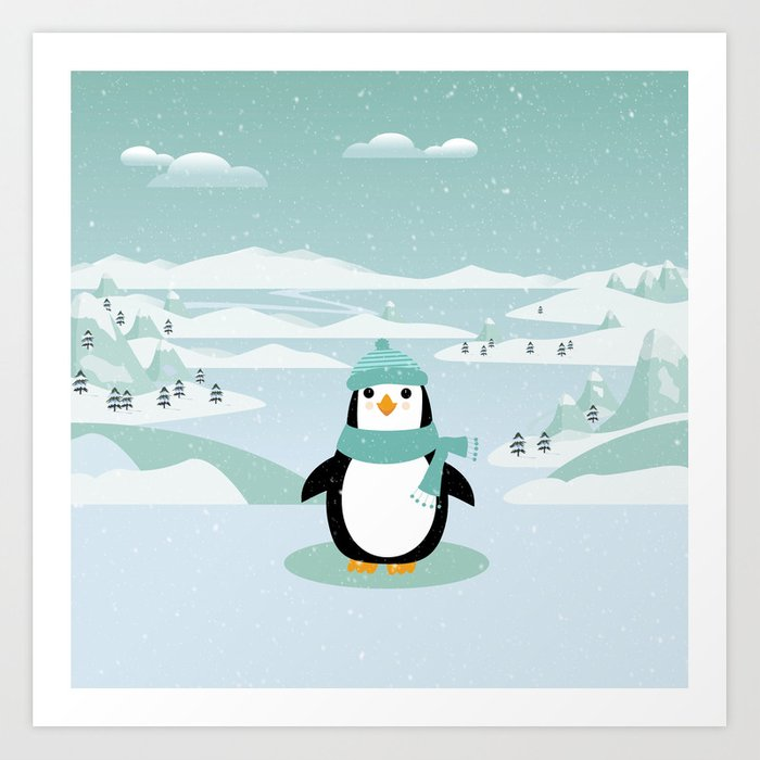 AFE Winter Penguin Kunstdrucke