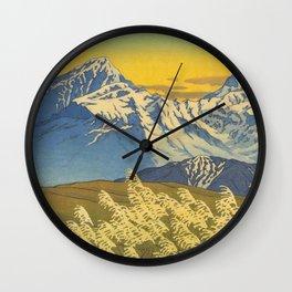 Kawase Hasui Japanese Woodblock Print Shin-hanga Ukiyo-e Landscape, Mountain  1946-1957 Wall Clock