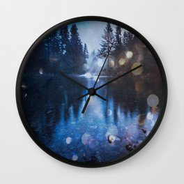 Magical Blue Forest Water Reflection - Nature Photography Wall Clock