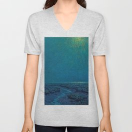 Coast of Tuscany, Italy under a Blue Moon landscape painting by Granville Redmond Unisex V-Neck
