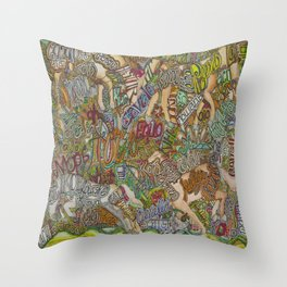 Horse in many languages Throw Pillow
