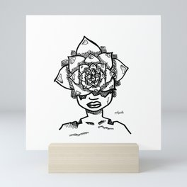 Succulent Head Pot, Life in Bloom by Pablo Rodriguez (Pabzoide) Mini Art Print