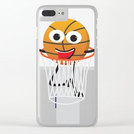 Cute Smiling Basketball Clear iPhone Case