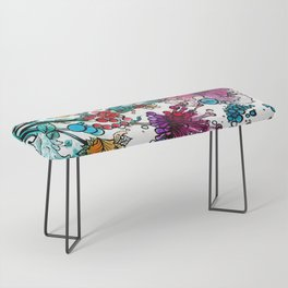 Floral watercolor abstraction Bench