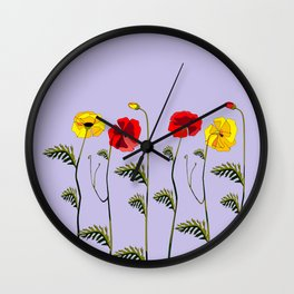 A Garden of Red and Yellow Poppies Wall Clock