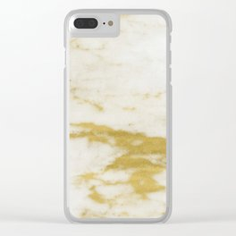 Marble - Shimmery Gold Marble and White Clear iPhone Case